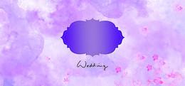 花瓣婚礼梦幻渐变紫色banner背景