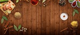 美食俯视图木纹质感中草药棕色banner