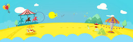 61游乐园出游卡通童趣蓝色背景