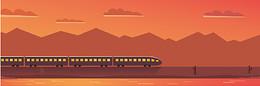 高铁火车城市背景图