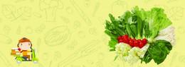 蔬菜卡通绿色海报banner背景