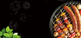 夏日烧烤节大气烤肠几何简约黑色背景