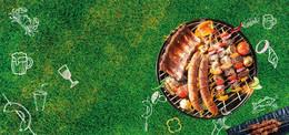 草地烧烤party手绘几何绿色背景