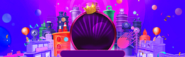卡通紫色激情双12天猫活动海报背景