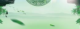 绿色复古玉器淘宝电商海报背景