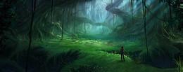 森林大气梦幻绿色淘宝海报背景