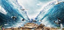 科幻海浪场景背景图