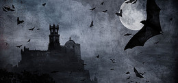 城堡科幻黑色影視海報背景