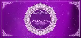 蕾丝婚礼渐变紫色banner背景