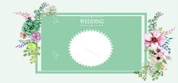 婚礼婚庆简约绿色花卉banner海报