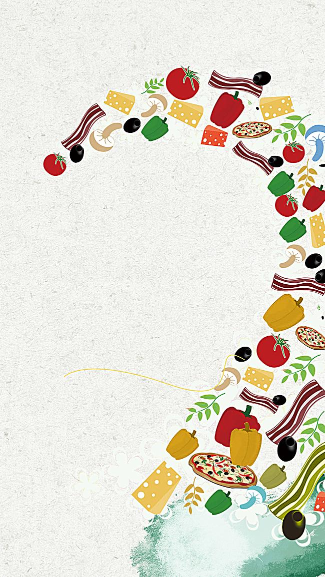 灰色质感卡通食品PSD分层H5背景素材,来自爱设计http://www.asj.com.cn