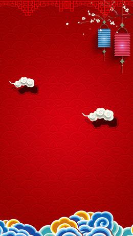 春节中国风水纹红色背景PSD分层H5背景