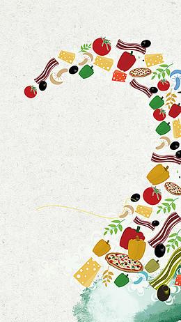 灰色质感卡通食品PSD分层H5背景素材