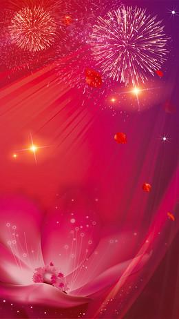 盛大开业红色喜庆烟花H5背景素材
