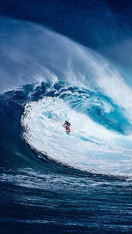 蓝色大海冲浪手机端H5背景
