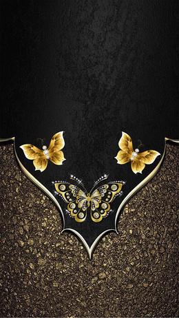 大气黑金蝴蝶背景素材