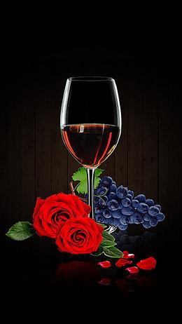 黑色简约红酒杯玫瑰花