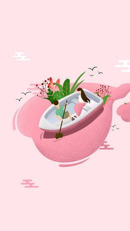 七夕划船手绘插画H5背景素材