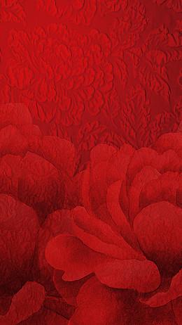 红色花卉底纹背景