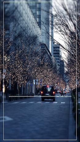 日本城市街道背景