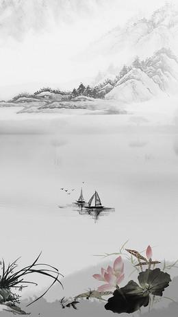 中国风山水情水墨书画荷花H5背景素材