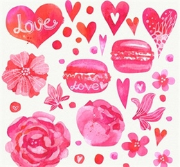 彩繪愛心和花卉