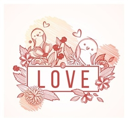 彩繪花卉和鳥