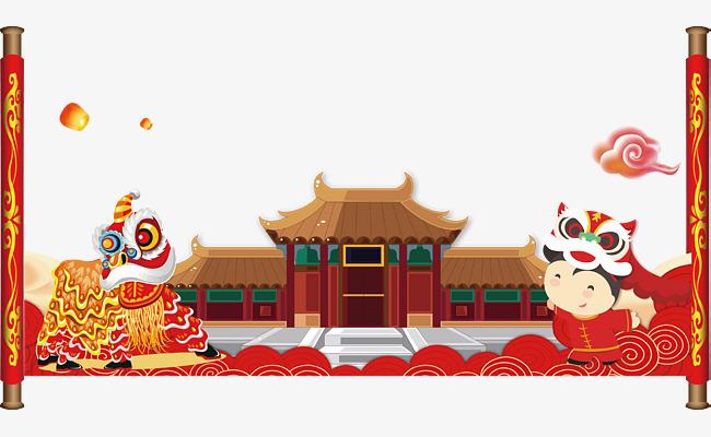 春节主题舞狮建筑物矢量图,来自爱设计http://www.asj.com.cn