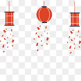 红色扁平灯笼