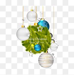 精美松枝球吊飾圣誕背景矢量素材