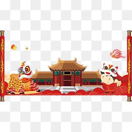 春节主题舞狮建筑物矢量图
