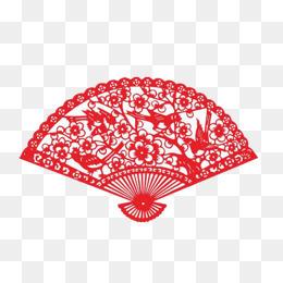 红色传统剪纸扇