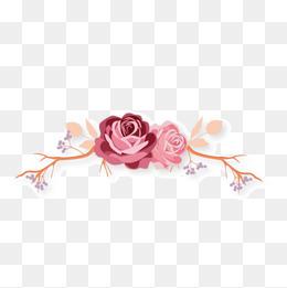 手绘水彩玫瑰加藤蔓图