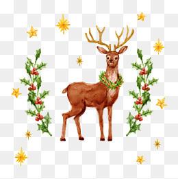 矢量圣诞节水彩麋鹿插画
