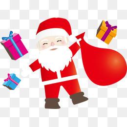 矢量圣诞老人和礼物