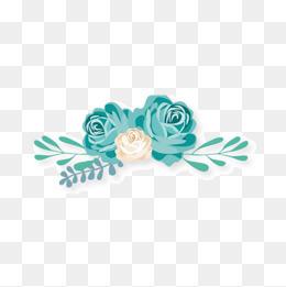 手绘水彩玫瑰花加藤蔓