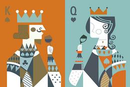撲克國王王后裝飾畫