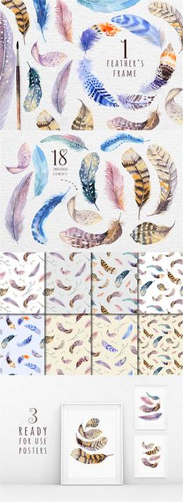 唯美手繪水彩風彩色羽毛小鳥卡片背景合集