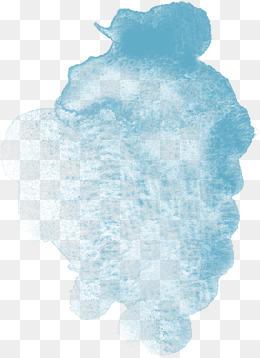蓝色渲染的水彩痕迹素材