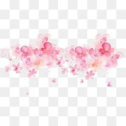 唯美精美水彩墨迹花朵桃花