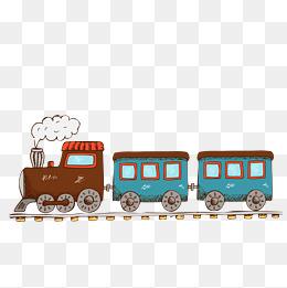 卡通手绘老式火车