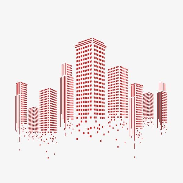 城市 高楼 扁平化 线条 红色,来自爱设计http://www.asj.com.cn