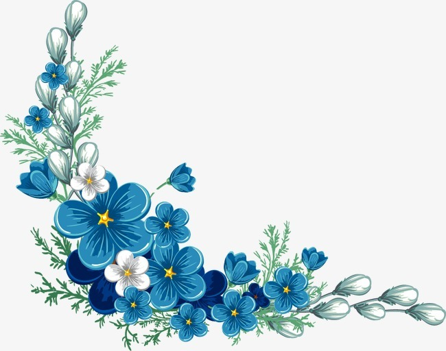 卡通手绘蓝色花边框,来自爱设计http://www.asj.com.cn