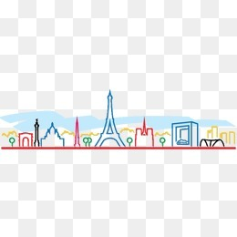 简约彩色城市线条剪影