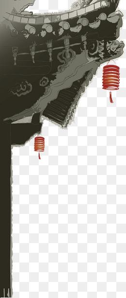 水墨中国风屋檐