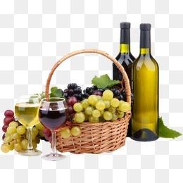 一篮子葡萄和葡萄酒