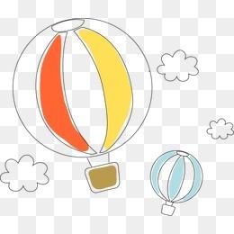 卡通熱氣球矢量手繪線稿卡通簡約