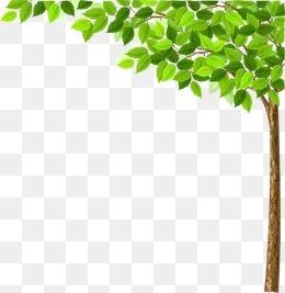 卡通清新春天树叶树