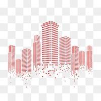 城市 高樓 扁平化 線條 紅色