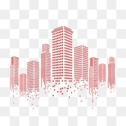 城市 高楼 扁平化 线条 红色